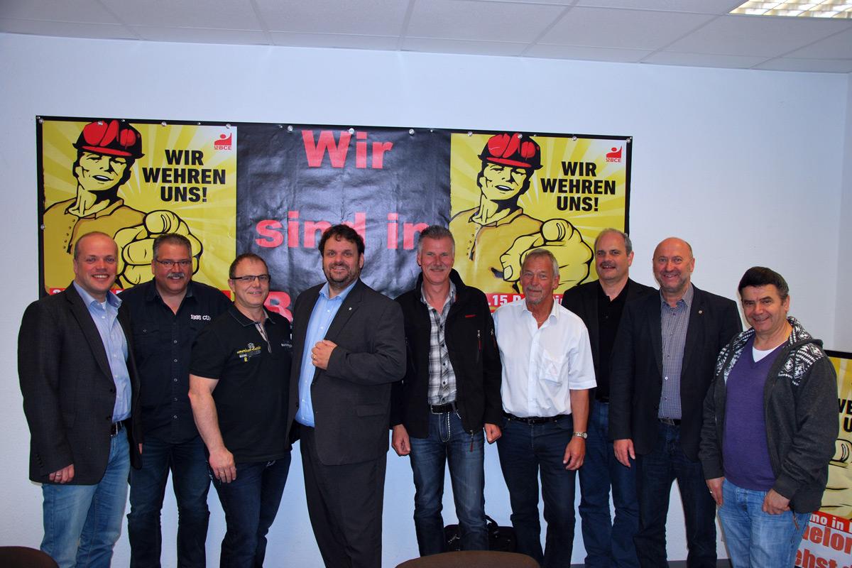 (v.l.n.r.) Klaus Krützen (SPD), Jürgen Linges (BR), Klaus Emmerich (BR), Guido van den Berg MdL, Michael Bochinsky (BR), Manfred Holz (BR), Dieter Faust (BR), Rainer Thiel MdL, Ismail Tekin (BR)
